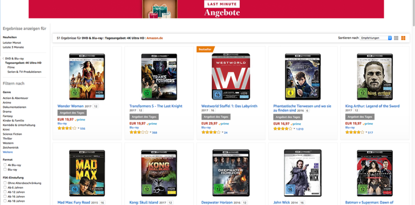 Amazon Deal des Tages: Filme auf Ultra HD Blu-ray ab 12,97 Euro