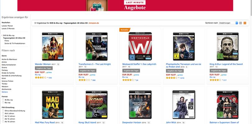 Amazon Deal des Tages: Filme auf Ultra HD Blu-ray ab 12,97 Euro