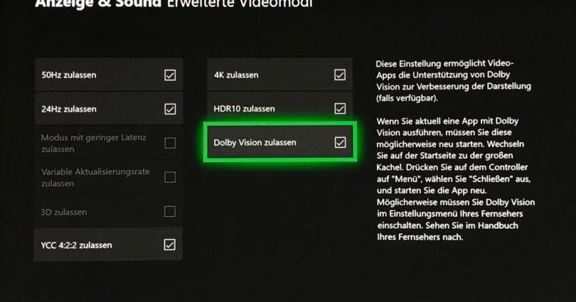 Dolby Vision: Update für Xbox One S und X erhältlich