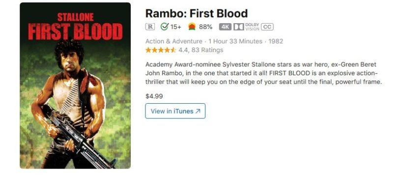 """""""Rambo I-III"""": Im ausländischen iTunes-Angebot in 4K mit Dolby-Vision-Bild"""