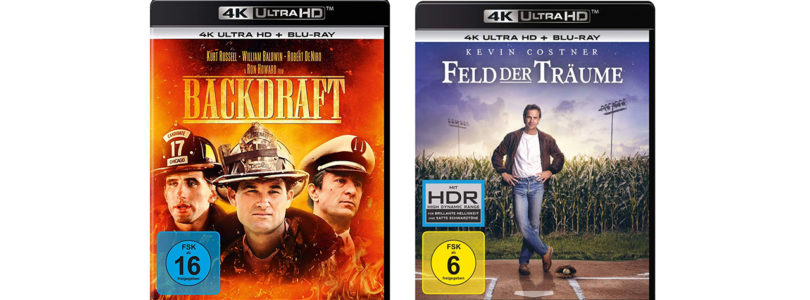 """""""Backdraft"""" und """"Feld der Träume"""" auf 4K-Blu-ray mit deutschem und englischen DTS:X-Ton"""