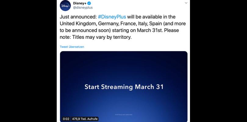 """Videostreaming: """"Disney+"""" startet am 31. März 2020 (Update)"""