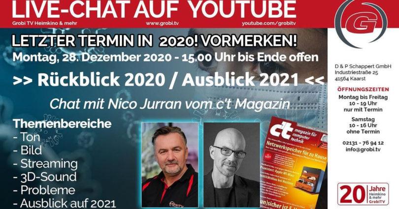 """Heute um 15 Uhr: Live-Chat mit Patrick Schappert """"Rückblick auf 2020 / Ausblick auf 2021"""""""