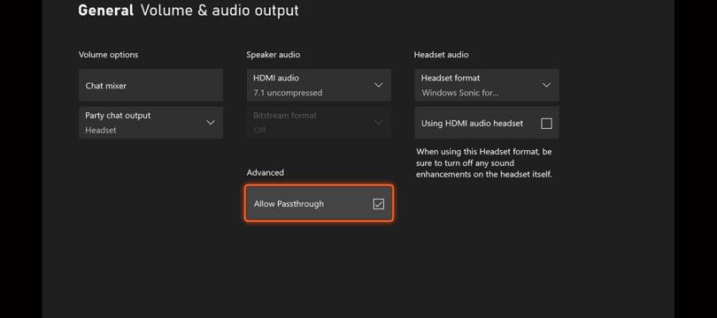 Xbox Series erhält Audio-Passthrough-Funktion